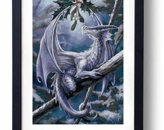 Mistletoe dragon - christmas winter (Cross stitch embroidery pattern pdf)