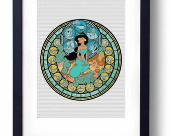 Jasmine Stained Glass - Aladdin Disney (Cross stitch embroidery pattern pdf)