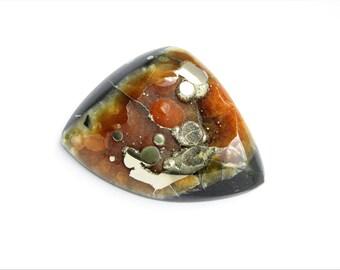 Ammonite-Simbircite with silver pyrite geode cabochon 47х36х4 mm