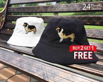 Collie Dog Embroidered Bucket Hat by 24PlanetsStudio