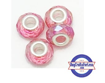 Acrylic BEADS, Faceted, Pretty PINK, CHooSE 8 or 25 pcs  +FREE Shipping & Discounts*
