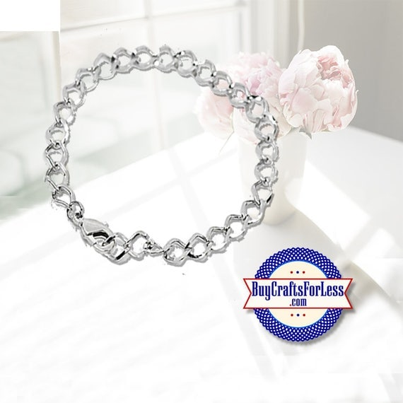 "Chain Charm Bracelet, 7 1/2"", clip end +99cent Shipping & Discounts*"