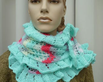 hand knitted long ruffle scarf
