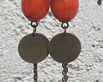 earring - earring orange - bronze dangle earring - earring Gypsy - tassel earring