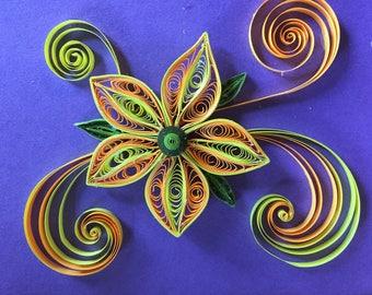 Handmade quilled flower card