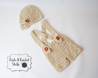 newborn crochet outfit, newborn boy crochet outfit, newborn boy outfit, newborn overalls, crochet  overalls, crochet suspender, newsboy hat
