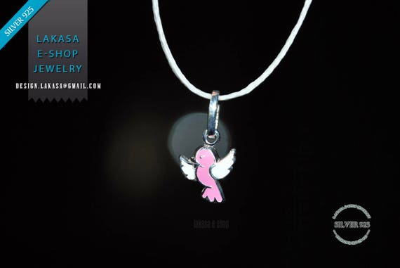 Bird Pink Enamel Necklace Sterling Silver 925 Jewelry for Girls Moda Fun Color Best Gift ideas for her Cute Animal Birthday party tweets