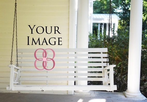 Real photography white swing on southern porch country for Country porch coupon code