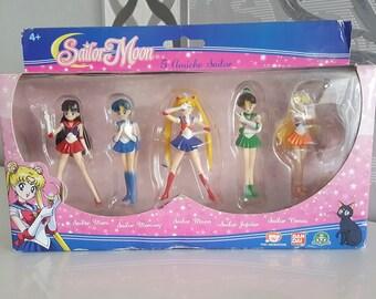 Set of Cute Italian Sailor Moon Figure Dolls - Moon , Mercury , Mars , Jupiter & Venus Sailor Scouts Collection Toys