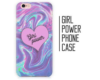 Girl Power Quote Phone Case - Holographic Mermaid - iPhone X 8 Plus 7 6 6s 5 5s 5c SE + Samsung S6 S7 S8+