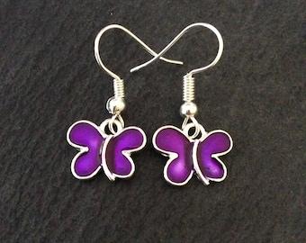 Purple butterfly earrings / butterfly lover gift / butterfly jewellery / animal lover gift / animal lover earrings / animal lover jewellery
