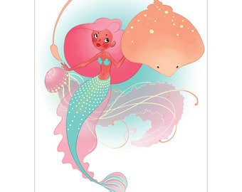 Jellyfish Mermaid & Friends A5 Art Print