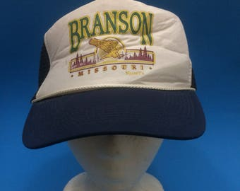 Vintage Branson Missouri Trucker Snapback Hat Adjustable 1980s 90s
