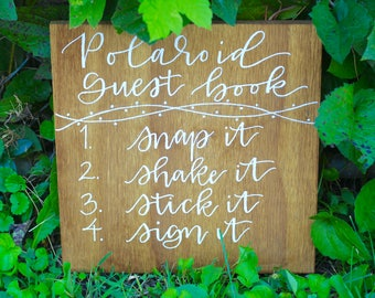 Guest Book Wood Sign - Wood Sign, Wedding Sign, Polaroid Guest Book Sign, Hand Lettered Sign, Wedding Decoration,