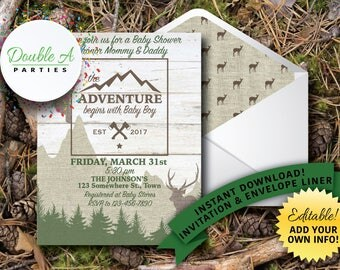 Adventure Baby Shower Invitation - Woodland baby shower, Outdoor baby shower, Forest animals baby shower, Self-Editable Invitation