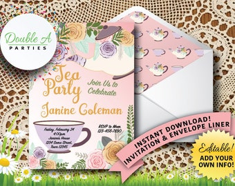 Tea Party Birthday Party Invitation - Girl Birthday Party Invite, Floral Birthday Invite, Feminine Birthday Invite, Self-Editable Invitation