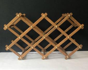 Wooden Folding Accordion Wall Rack Jewelry Organizer Towel