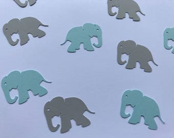 Grey and Blue Elephant Confetti - Elephant Confetti - Baby Boy Shower Decor - 100 pieces