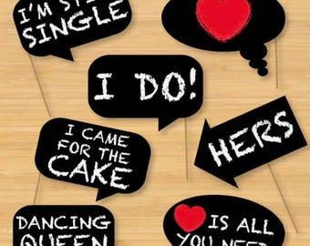 7PCS Chalkboard Style Fun Wedding Photo Booth Props, Party Props, Photo Booth Props, Party Supply, Party Decor, Photo props, Wedding Props