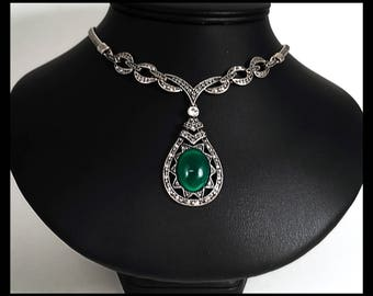 Deep Green Oval Pendant Necklace Linked  With Marcasite Style and Flat Silver Oxidized Chain