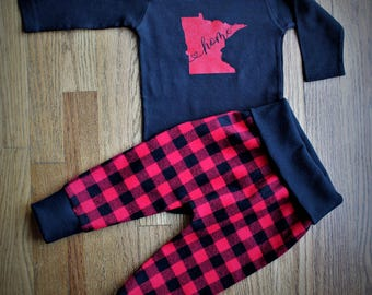 winter outfit / red and black plaid / plaid flannel pants / pants and top / unisex infant outfit / choose your state / buffalo plaid