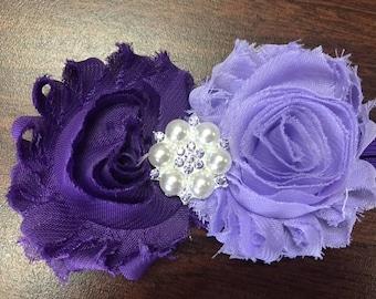 Light and Dark Purple Shabby Flower Headband, Rhinestone Center, Baby Headband, Elastic