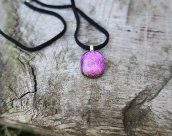 Pink dichroic glass necklace