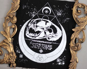 handprinted backpatch catskull occult