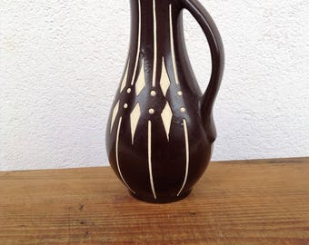 Vintage 50s vase DDR East Germany; Anton Piesche & Ripe Kamenz Sgraffito Ritzdecor
