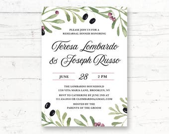 Tuscan Mediterranean Rehearsal Dinner or Engagement Party Printable Invitation, Winery Vineyard Italian Greek Olives Custom Printable Invite