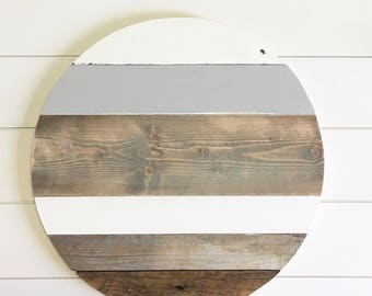 20in // monogrammed round // reclaimed wood