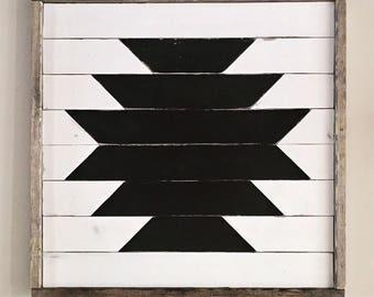 Wood Wall Decor // Distressed Tribal // approx 22x22 //