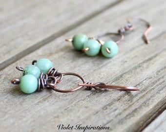 Copper Hoop Earrings / Wire Wrapped Earrings / Chrysoprase / Wire Wrapped Jewelry / Copper Jewelry / Beaded Earrings / Hoop Earrings