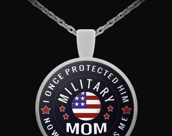 Military Mom Necklace, Military Mom Gifts, Military Mom Jewelry, Proud Military Mom Pendant Necklace, Soldier Mom, military jewelry, 22 inch