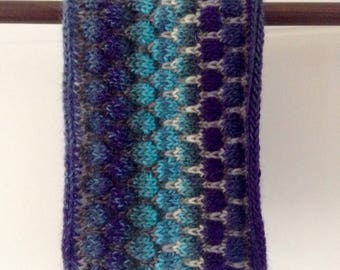 Cowl, neck warmer hand knitted, pure wool, scarf, collar, gift for her, winter accessories, blue