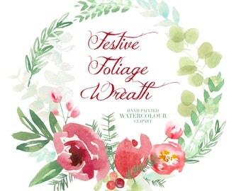 Festive Foliage Wreath and Individual hand painted watercolour clip art elements