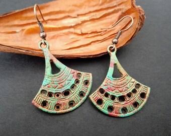 Verdigris Patina  Earrings | Gipsy Earrings | Ethnic Earrings | Boho Earrings | Vintage Earrings | Pendientes  | Bohemian Fan Shape Earrings
