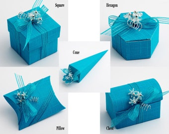 Turquoise Wedding Favour, Turquoise Favor Box, Turquoise Theme, Turquoise Party, Party Favors, Wedding Table, Turquoise Gift Box, Candy Box