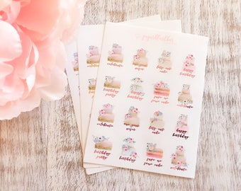 Mini Foiled Cakes | Birthday Cake Foil Planner Stickers