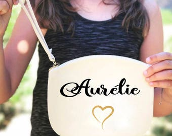 Pouch witness bridesmaid gift wedding bachelorette party with handle in natural cotton personalized with name
