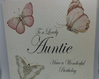 Handmade White Cotton Sparkling Greeting Cards For AUNTIE BIRTHDAY, Happy Birthday Cards, Butterfly Cards