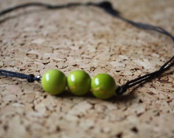 Necklaces crew neck - line green and gold beads