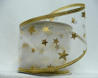 "2.5"" wide x 10 yards, sheer ribbon gold stars printed wired"