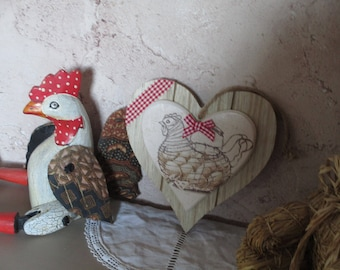 """wooden heart hanging retro country chic """"cute chick"""""""
