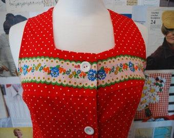 Vintage Red 1970s Matryoshka Pattern Button Dress Size 10