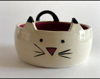 ceramic bowl, decorative cat bowl, ceramic planter, cat tableware, serving bowl, snack bowl, sweet dish, cat gift, birthday gift, cat bowl