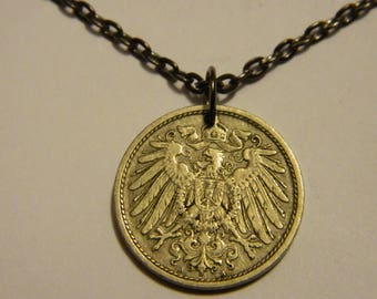 1907 Germany German Empire Coin Pendant & Gun Metal Chain Necklace Crowned Imperial Eagle with Shield