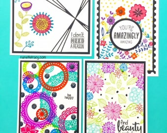 C034 - Handmade Friendship Floral Greeting Cards - Set of 4