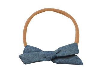 Schoolgirl Bow or Pigtail Set /// Chambray