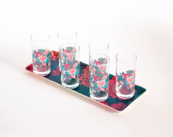 Oriental Glass Set, Floral Water Glasses, Vintage French Lemonade Glasses, Flower Glasses and Tray Set, 1970's Glasses, Mid-century Tumblers